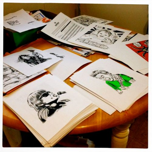 Stacks of hundreds of drawings by Brian Walsby