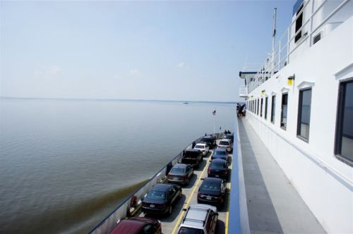 Riding the ferry across the James river