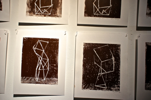 Linoleum prints by Mary Mattingly