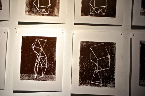 Linoleum prints by Mary Mattingly